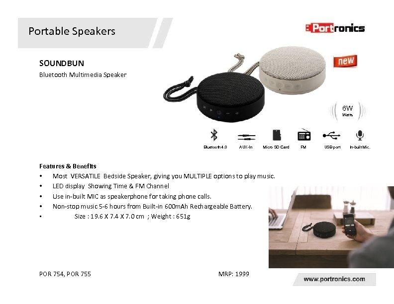 Portable Speakers SOUNDBUN Bluetooth Multimedia Speaker 6 W Watts Bluetooth 4. 0 AUX-In Micro