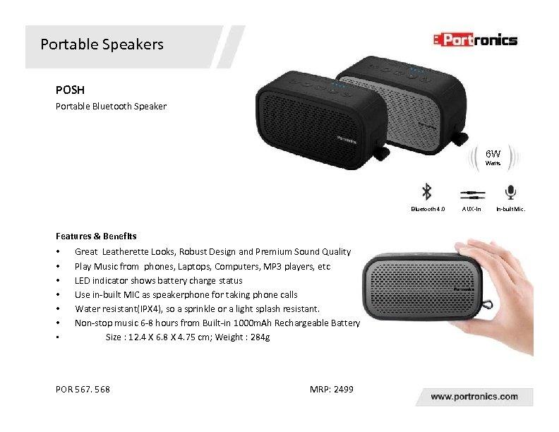 Portable Speakers POSH Portable Bluetooth Speaker 6 W Watts Bluetooth 4. 0 Features &