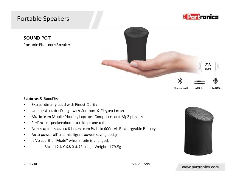 Portable Speakers SOUND POT Portable Bluetooth Speaker 3 W Watts Bluetooth 4. 0 Features