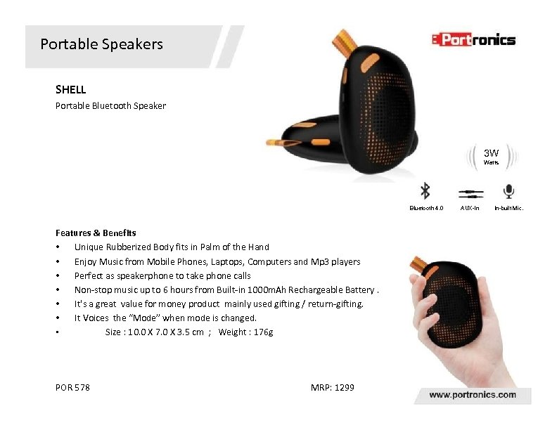 Portable Speakers SHELL Portable Bluetooth Speaker 3 W Watts Bluetooth 4. 0 Features &