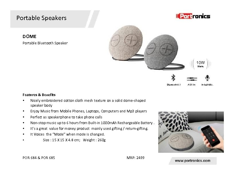 Portable Speakers DOME Portable Bluetooth Speaker 10 W Watts Bluetooth 4. 1 Features &