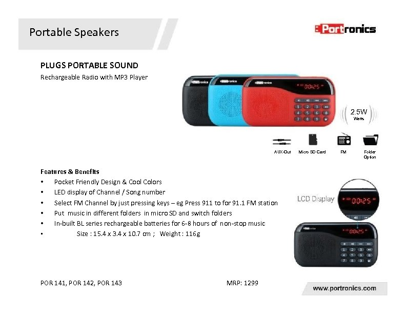 Portable Speakers PLUGS PORTABLE SOUND Rechargeable Radio with MP 3 Player 2. 5 W