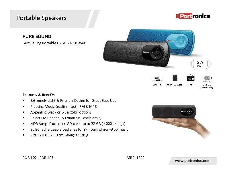 Portable Speakers PURE SOUND Best Selling Portable FM & MP 3 Player 2 W