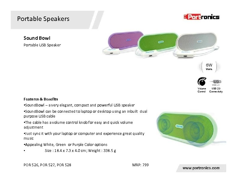Portable Speakers Sound Bowl Portable USB Speaker 6 W Watts Volume Control Features &