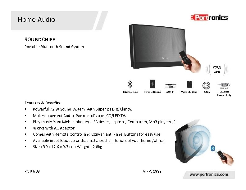 Home Audio SOUNDCHIEF Portable Bluetooth Sound System 72 W Watts Bluetooth 4. 0 Remote