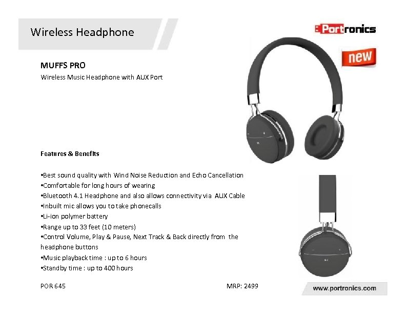 Wireless Headphone MUFFS PRO Wireless Music Headphone with AUX Port Features & Benefits •