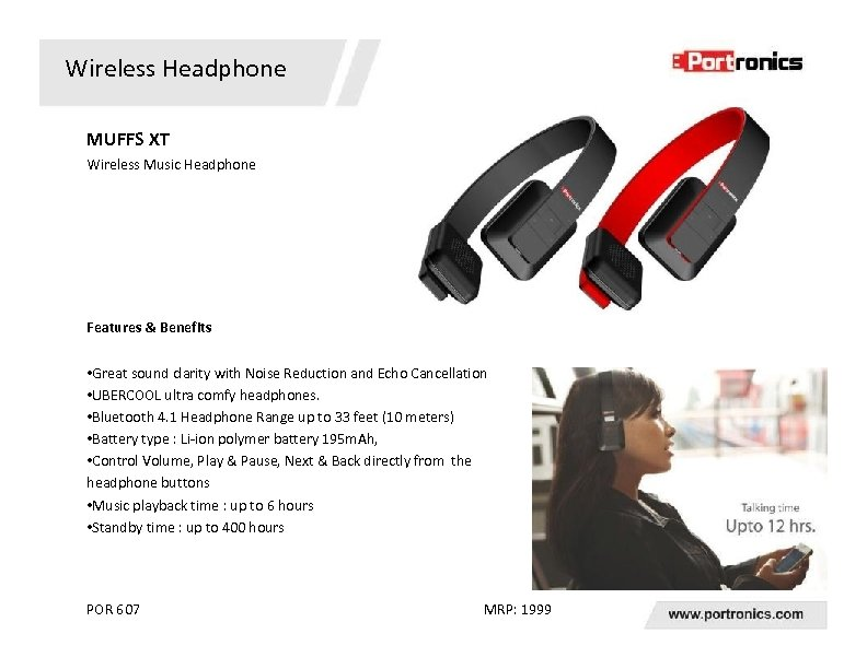 Wireless Headphone MUFFS XT Wireless Music Headphone Features & Benefits • Great sound clarity