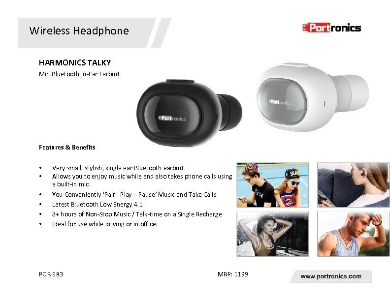 Wireless Headphone HARMONICS TALKY Mini. Bluetooth In-Ear Earbud Features & Benefits • • •