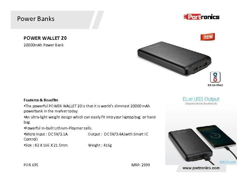 Power Banks POWER WALLET 20 20000 m. Ah Power Bank BIS Certified Features &