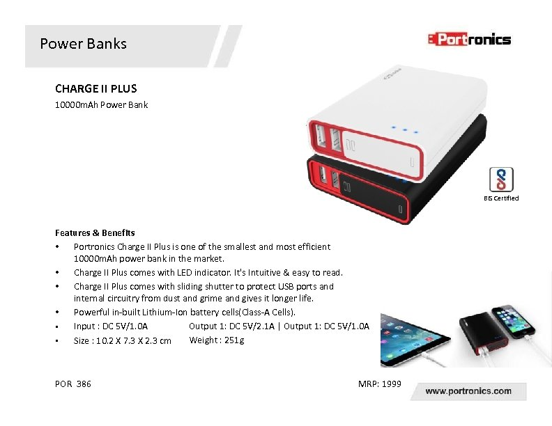 Power Banks CHARGE II PLUS 10000 m. Ah Power Bank BIS Certified Features &