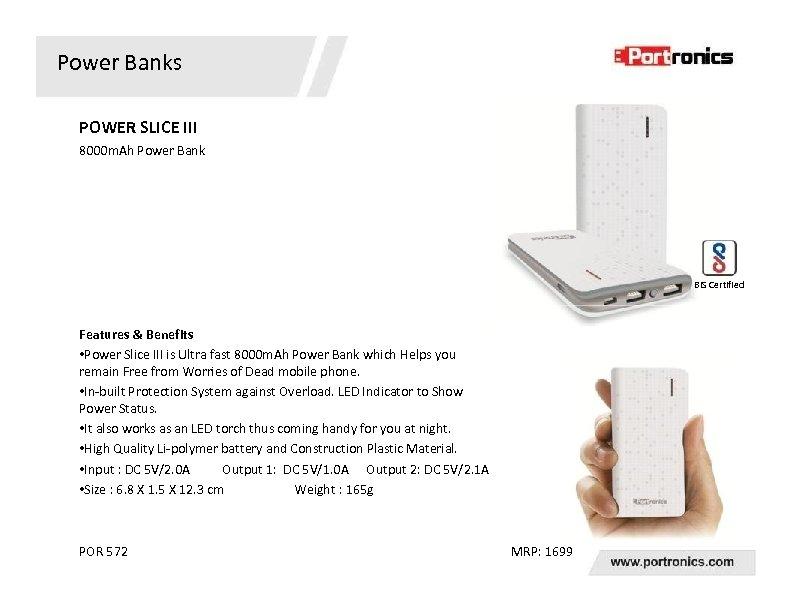 Power Banks POWER SLICE III 8000 m. Ah Power Bank BIS Certified Features &