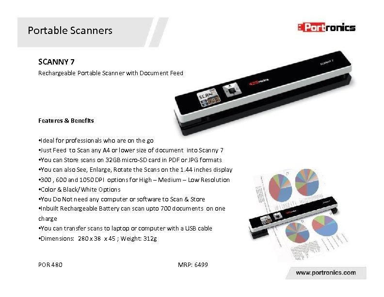 Portable Scanners SCANNY 7 Rechargeable Portable Scanner with Document Feed Features & Benefits •