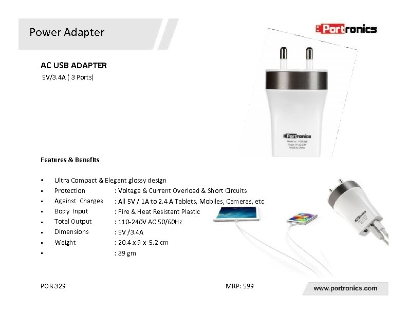 Power Adapter AC USB ADAPTER 5 V/3. 4 A ( 3 Ports) Features &