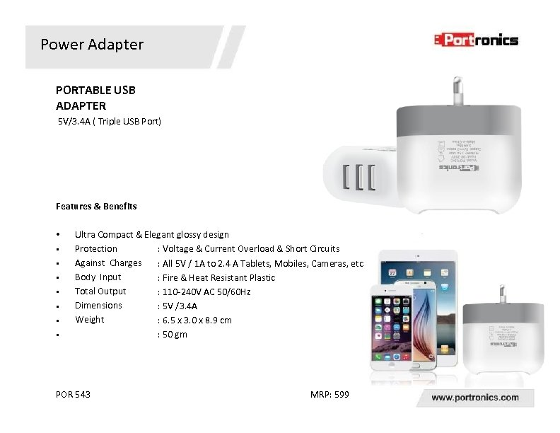 Power Adapter PORTABLE USB ADAPTER 5 V/3. 4 A ( Triple USB Port) Features