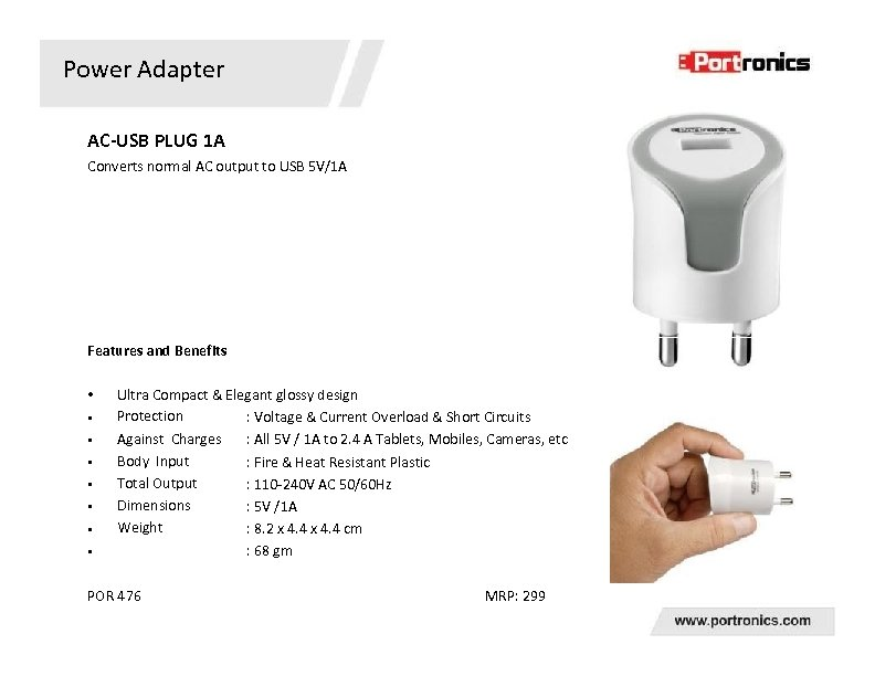 Power Adapter AC-USB PLUG 1 A Converts normal AC output to USB 5 V/1