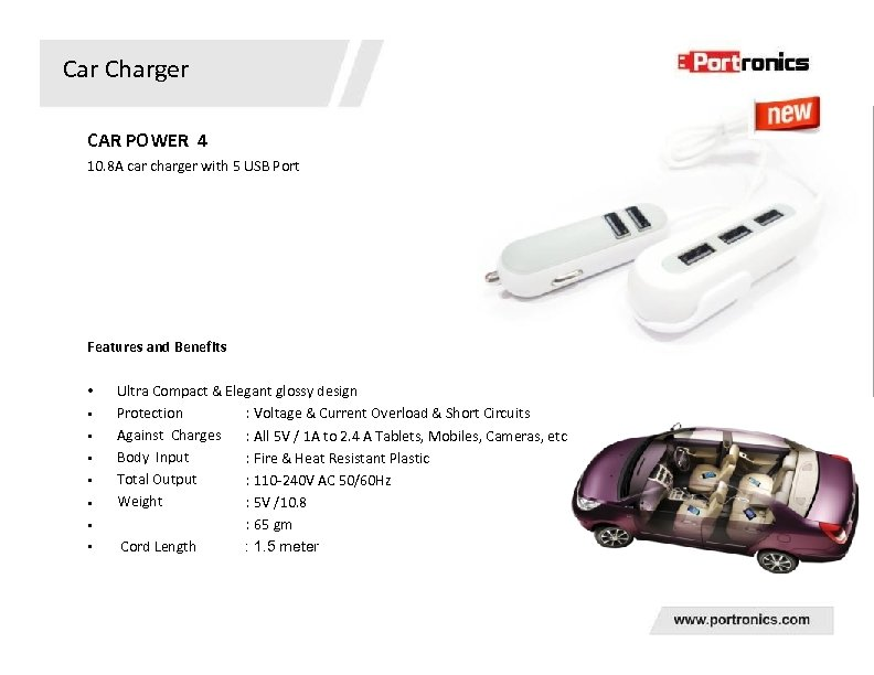 Car Charger CAR POWER 4 10. 8 A car charger with 5 USB Port