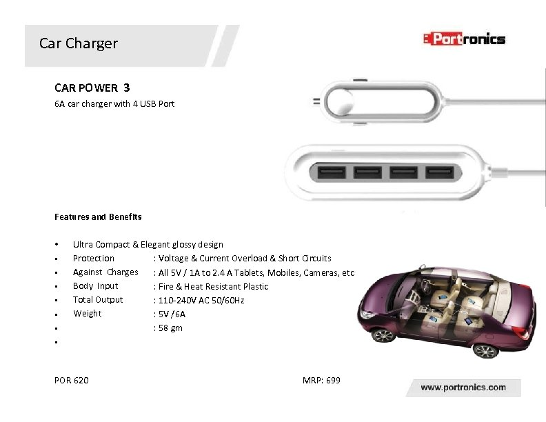 Car Charger CAR POWER 3 6 A car charger with 4 USB Port Features