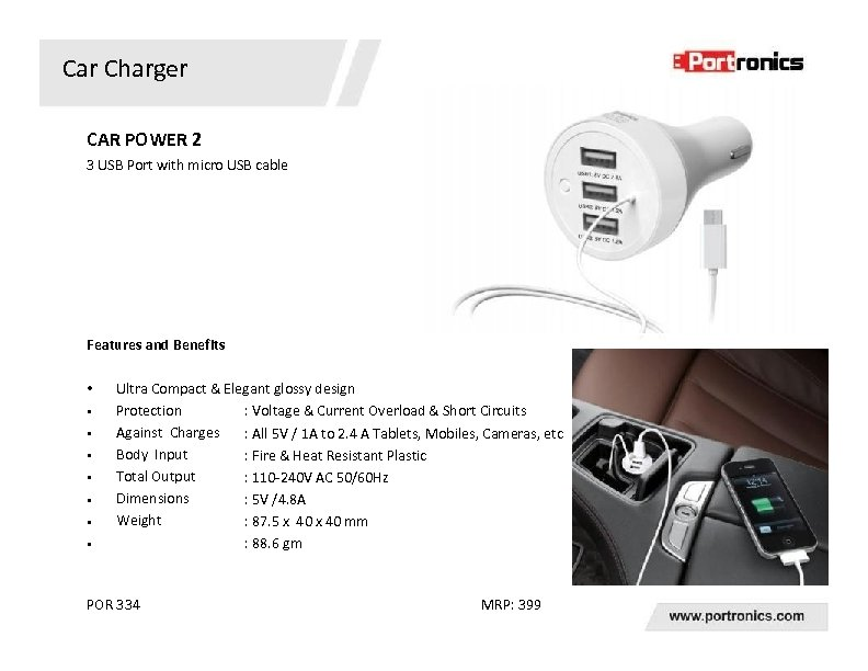 Car Charger CAR POWER 2 3 USB Port with micro USB cable Features and
