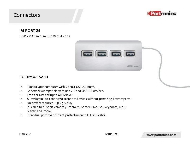 Connectors M PORT 24 USB 2. 0 Aluminum Hub With 4 Ports Features &