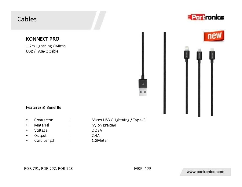 Cables KONNECT PRO 1. 2 m Lightning / Micro USB /Type-C Cable Features &