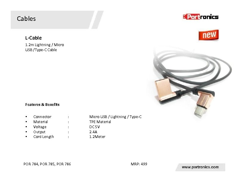 Cables L-Cable 1. 2 m Lightning / Micro USB /Type-C Cable Features & Benefits