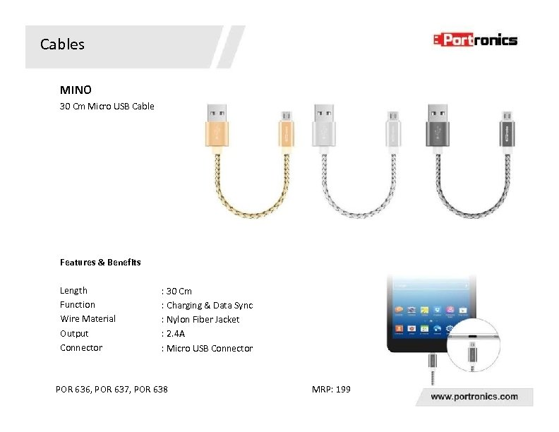 Cables MINO 30 Cm Micro USB Cable Features & Benefits Length Function Wire Material