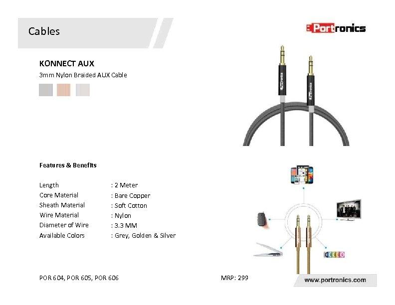 Cables KONNECT AUX 3 mm Nylon Braided AUX Cable Features & Benefits Length Core