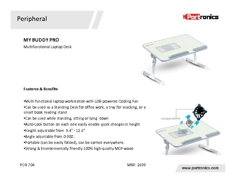 Peripheral MY BUDDY PRO Multifunctional Laptop Desk Features & Benefits • Multi functional laptop
