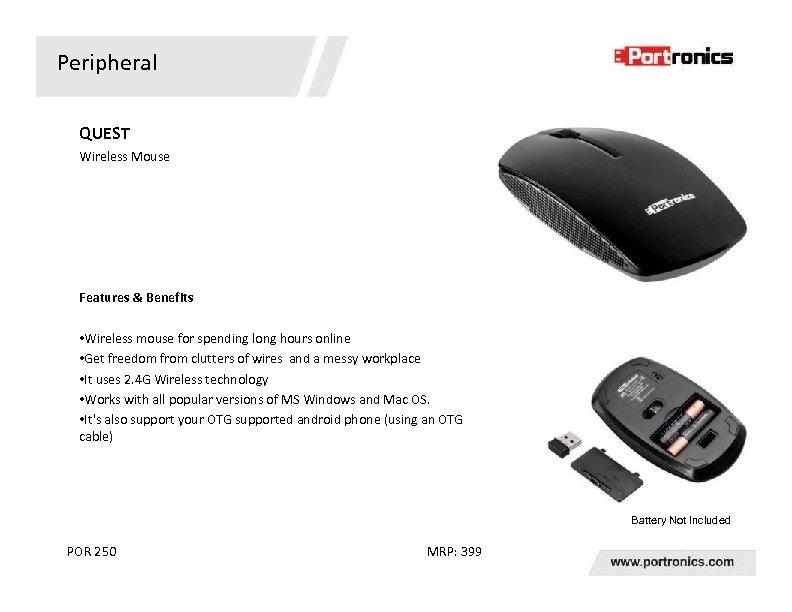 Peripheral QUEST Wireless Mouse Features & Benefits • Wireless mouse for spending long hours