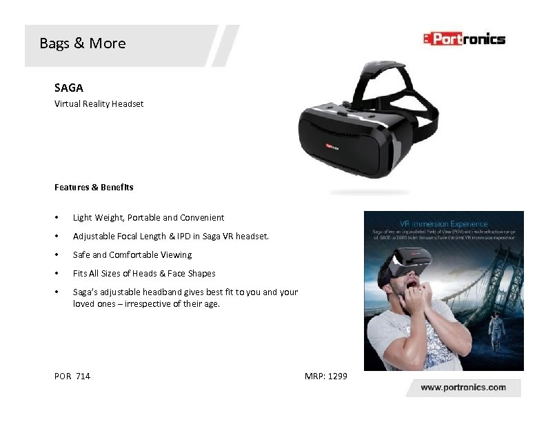 Bags & More SAGA Virtual Reality Headset Features & Benefits • Light Weight, Portable