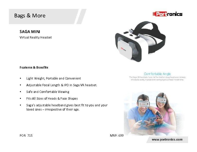 Bags & More SAGA MINI Virtual Reality Headset Features & Benefits • Light Weight,