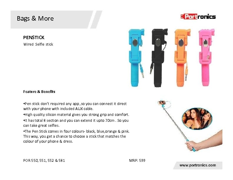 Bags & More PENSTICK Wired Selfie stick Feature & Benefits • Pen stick don't