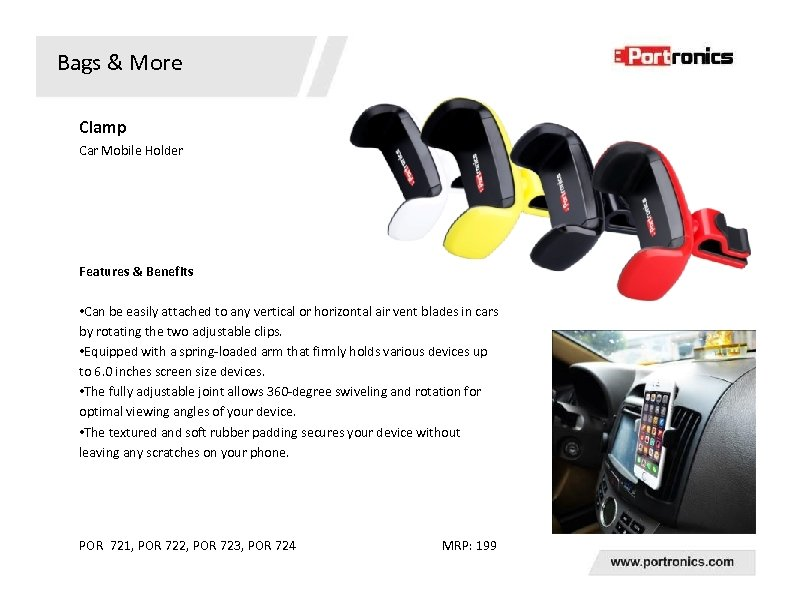 Bags & More Clamp Car Mobile Holder Features & Benefits • Can be easily
