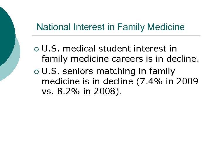 National Interest in Family Medicine U. S. medical student interest in family medicine careers