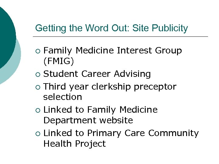 Getting the Word Out: Site Publicity Family Medicine Interest Group (FMIG) ¡ Student Career