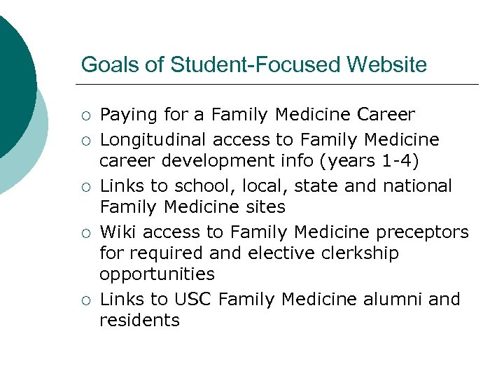 Goals of Student-Focused Website ¡ ¡ ¡ Paying for a Family Medicine Career Longitudinal