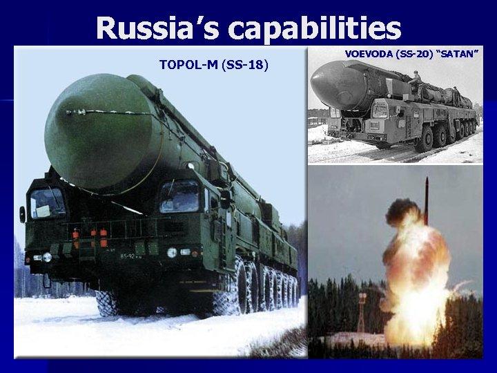 "Russia's capabilities TOPOL-M (SS-18) VOEVODA (SS-20) ""SATAN"""