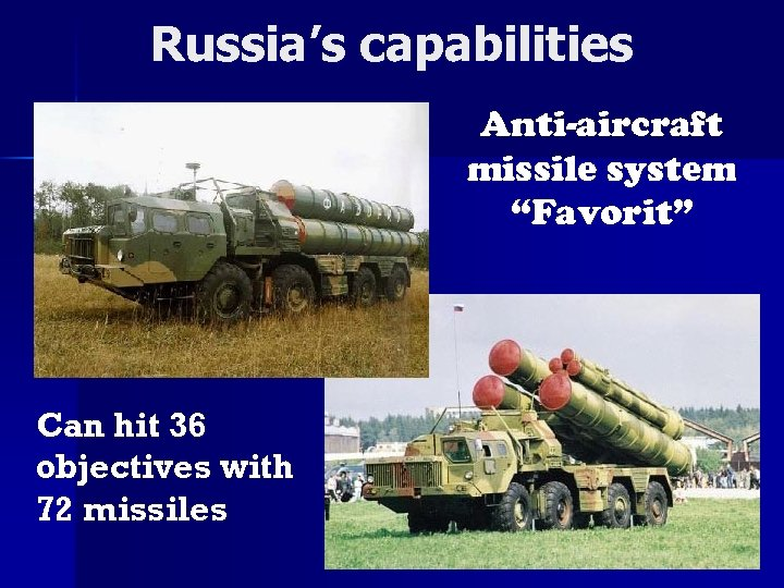 "Russia's capabilities Anti-aircraft missile system ""Favorit"" Can hit 36 objectives with 72 missiles"