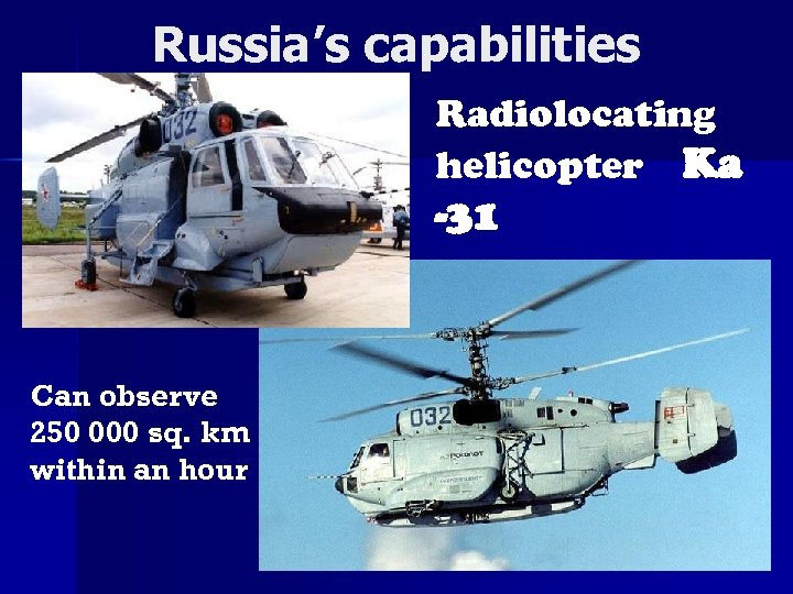 Russia's capabilities Radiolocating helicopter Ka -31 Can observe 250 000 sq. km within an