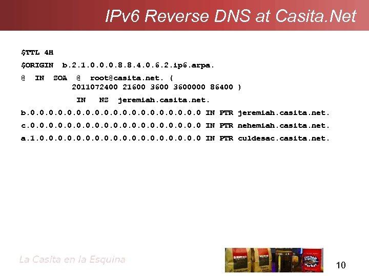 IPv 6 Reverse DNS at Casita. Net $TTL 4 H $ORIGIN @ IN b.