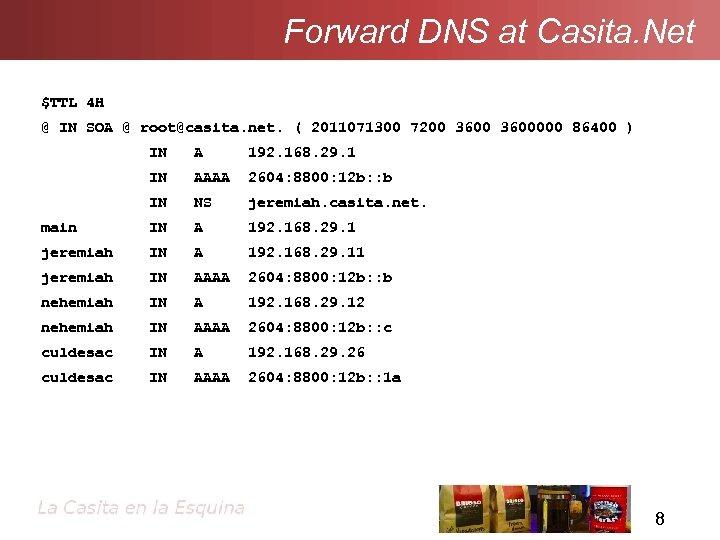 Forward DNS at Casita. Net $TTL 4 H @ IN SOA @ root@casita. net.