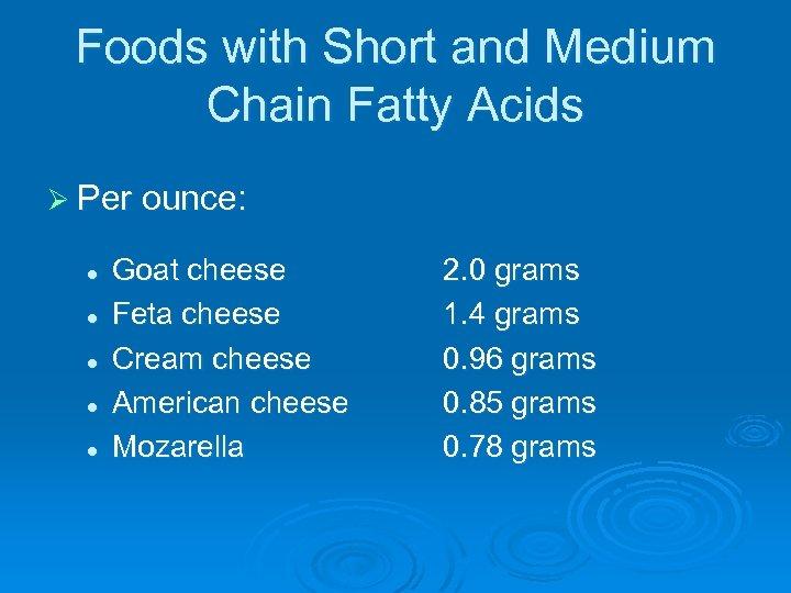 Foods with Short and Medium Chain Fatty Acids Ø Per ounce: l l l