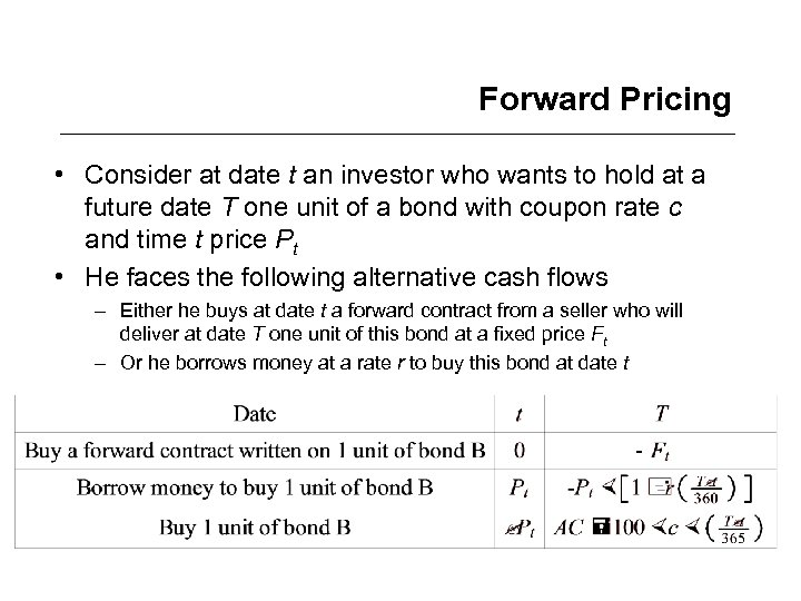 Forward Pricing • Consider at date t an investor who wants to hold at