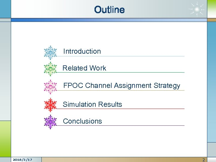 Outline Introduction Related Work FPOC Channel Assignment Strategy Simulation Results Conclusions 2018/3/17 2