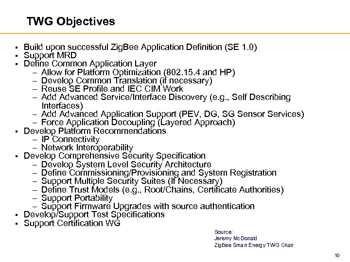 TWG Objectives § § § § Build upon successful Zig. Bee Application Definition (SE