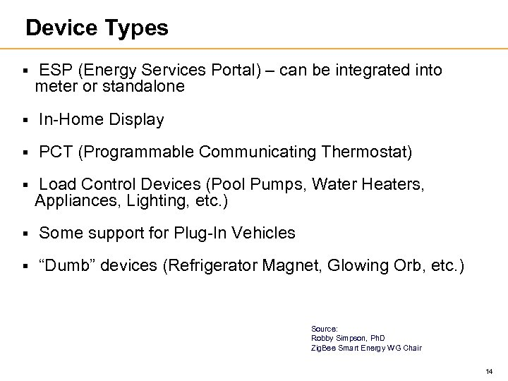 Device Types § ESP (Energy Services Portal) – can be integrated into meter or