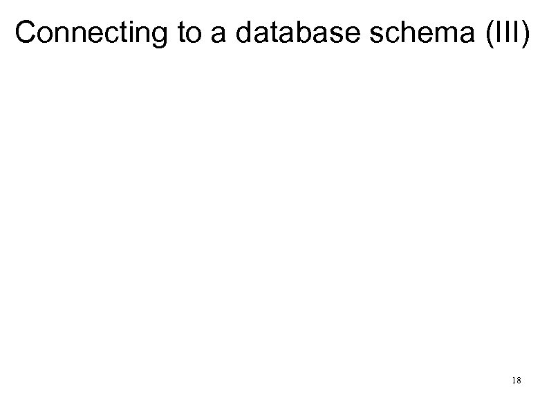 Connecting to a database schema (III) 18