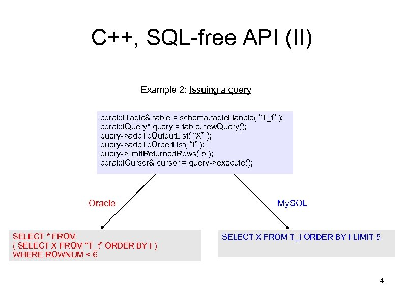 C++, SQL-free API (II) Example 2: Issuing a query coral: : ITable& table =