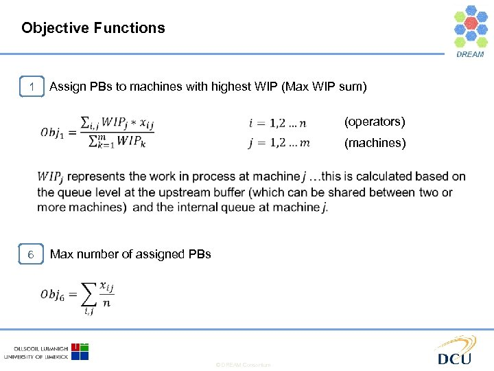 Objective Functions Assign PBs to machines with highest WIP (Max WIP sum) 1 (operators)