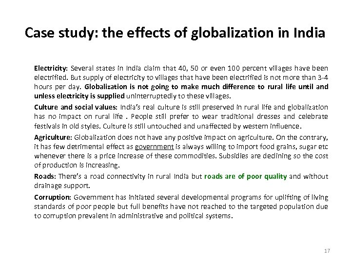 Case study: the effects of globalization in India Electricity: Several states in India claim